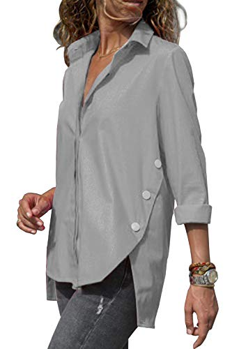 ZC&GF Damen Bluse Elegant Langarm Oberteile Einfarbig V-Ausschnitt Hemdbluse Asymmetrisch T-Shirt Top (Grau, M)