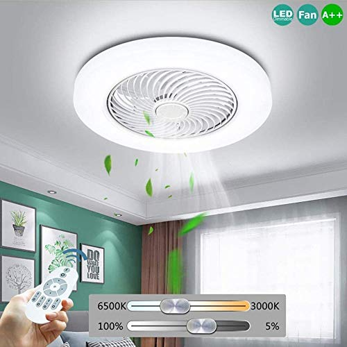 Verstellbare Deckenventilator mit Fernbedienung Beleuchtung dimmbare LED-Deckenleuchte 72W Moderne Fan Windgeschwindigkeit Ultra-Quiet Room Schlafzimmer Deckenleuchte Weiß Farbe: Weiß