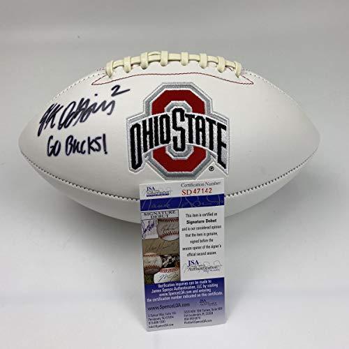 Autographed/Signed JK J.K. Dobbins Go Bucks Ohio State Buckeyes FS White Panel Logo Football JSA COA