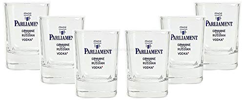 Mixcompany Parliament Russian Vodka Shotglas - Schnapsglas/Glas/Gläser Set - 6X Shotgläser 2/4cl geeicht - 2cl + 4 cl Eichung