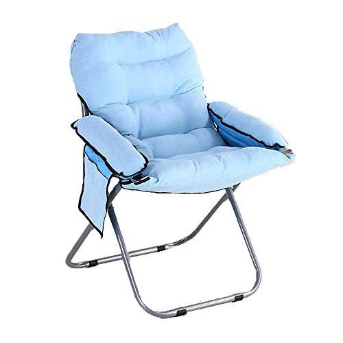 ZLININ Silla plegable para salón, plegable, para el hogar, balcón, almuerzo, siesta, oficina, dormitorio, capacidad de 100 kg, silla plegable para camping, (color: azul, tamaño: 58 x 58 x 8 cm)