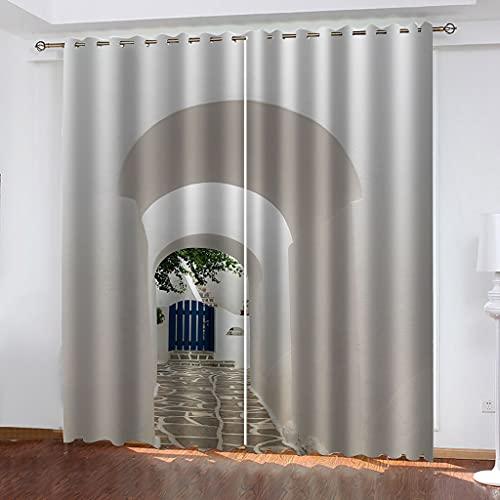 TEKOLOKI Cortinas Aislantes Térmicas Impresión 3D - con Ojales,Reducir el Ruido y Aislantes Térmicas - Decoración del hogar para salón y Dormitorio - Camino Secreto 2X(140x180) cm