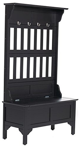 Home Style 5650-49 Full Hall Tree and Storage Bench, Black Finish