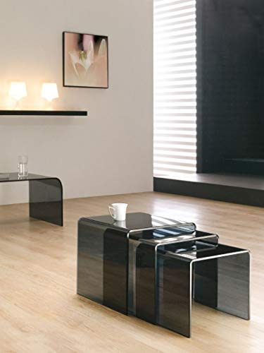 MODERN FURNITURE DIRECT Milan Curved Bent Black (Smoked) Glass Nest of Coffee side Tables (42 x 42 x 42 cm)