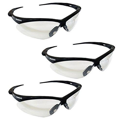 Kleenguard V30 25679 Nemesis Safety Glasses 3000355 (3 Pair) (Black Frame with Clear Anti-Fog Lens)