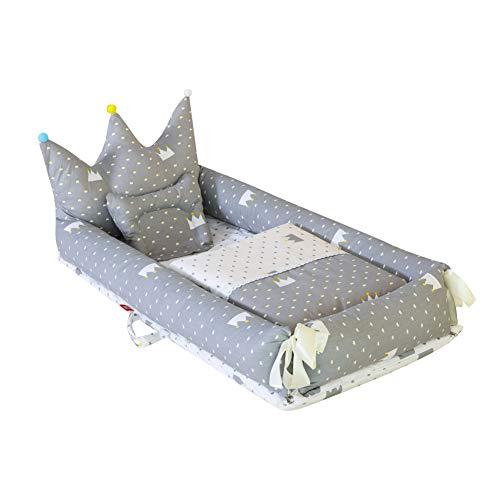 Miyanuby Cama Nido Bebe | Forma de la Corona de Cama de Bebé | Cuna de Viaje Portátil | Bebé Desmontable Cocoon Pod Dormir | Cuna de Bebe + Edredon + Almohada - 3PCS