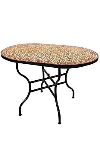 ORIGINAL Marokkanischer Mosaiktisch Gartentisch 120x80cm Groß eckig oval klappbar | Eckiger klappbarer Mosaik Esstisch Mediterran | als Klapptisch für Balkon oder Garten | Albaicin Beige Bordeaux