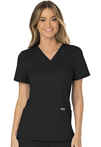 WW Revolution by Cherokee Women's Mock Wrap Top, Black, Medium