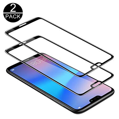 TECHKUN Vetro Temperato per Huawei P20 Lite [Copertura Completa][2 Packs], Pellicola Vetro Temperato [Anti-Graffo/Olio/Impronta] con 9H Durezza Protezione Elevata per Huawei P20 Lite- Nero