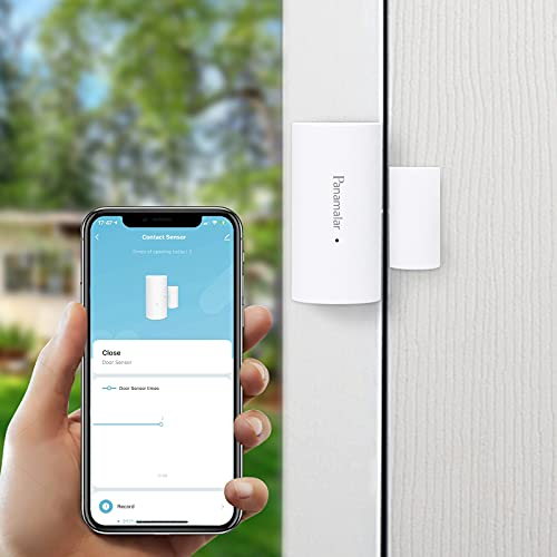 Panamalar Wifi Sensor de Ventana de Puerta, Detección de Puerta Abierta o Cerrada, Enviar Alerta al Teléfono, Funciona con Alexa Google Home, Encendido de Luces de Automatización del Hogar Inteligente