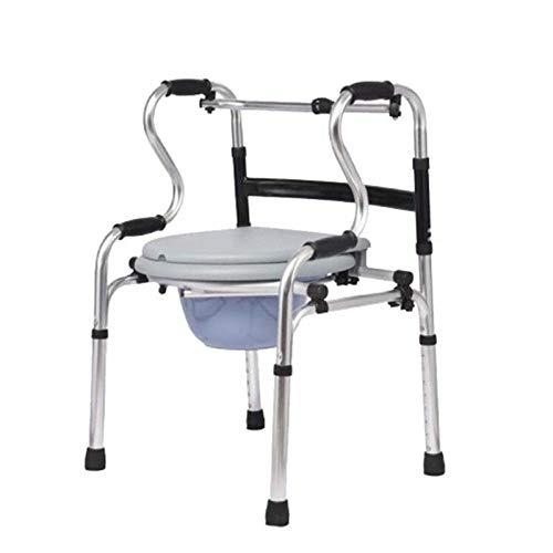 Marco para Caminar con Orinal Almohadilla de Soporte Aleación de Aluminio Gruesa Rehabilitación Auxiliar Andadores estándar Ayuda para la Vida Diaria Viajes para Ancianos discapacitados
