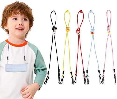 Kids Face Mask Lanyard Clips, 5 Pack Child Toddler Adjustable Cartoon Cute Length Strap Extender Eyeglass Holder Hanger Rest Gift for Boys Girls...