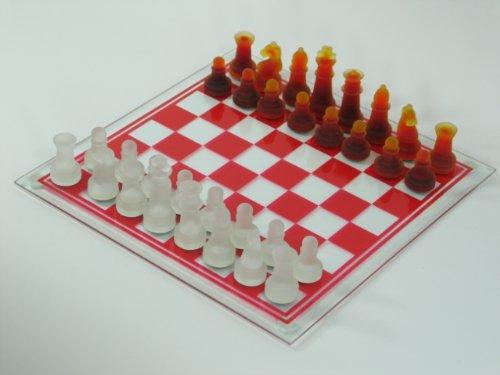 Dapo Schachbrett mit Glasfiguren in weiß und rot 31x31cm Schachspiel Geschenk