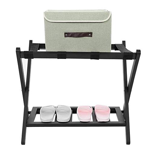 Estante El equipaje de madera plegable plegable Porta equipaje |Organización de la casa De pie con zapatos de almacenamiento del soporte del estante |Titular durable estable equipaje Maletas Bastidore