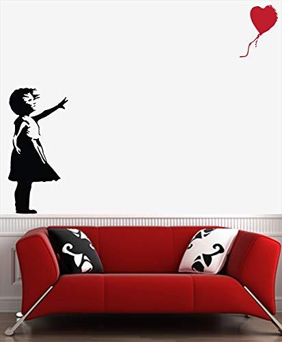 H421ld Vinilo adhesivo para pared, estilo Banksy, con globo perdido, diseño de chica (negro con globo de color).