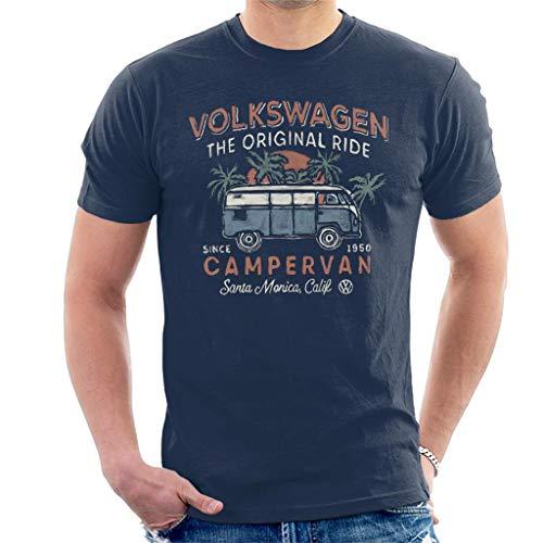 Volkswagen Men's The Original Ride Campervan T-Shirt, Navy Blue, XL