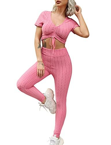 Sykooria Conjunto Yoga Mujer 2 piezas Malla Celular con Leggins Mujer Push Up Cintura Alta Conjunto Deporte Mujer para Yoga Fitness Running Gym,Rosa,S