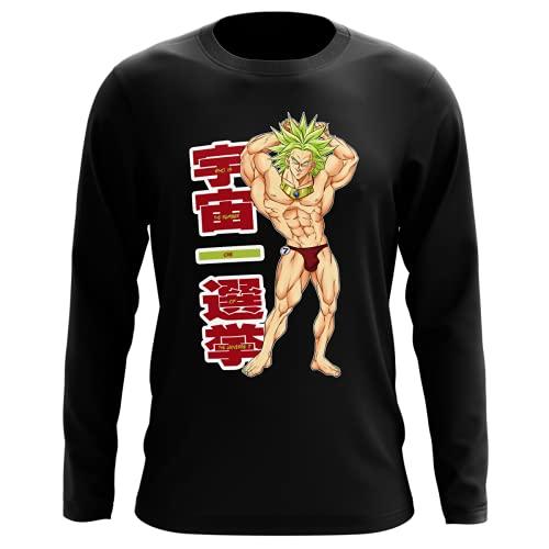Okiwoki T-Shirt Manches Longues Noir Parodie Dragon Ball Z - DBZ - Broly - Mister Univers - Candidat N° 7: (T-Shirt de qualité Premium de Taille L - imprimé en France)