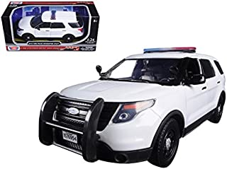 Motormax 76959 2015 Ford Interceptor Unmarked Police Car with Light Bar White 1/24 Diecast Model Car