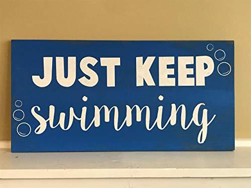SIGNS Finding Nemo, Just Keep Nating, tabla de madera divertida, pared de madera rústica divertida, colgante de madera divertida decoración para jardín