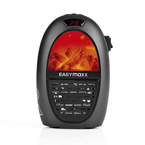 EASYMAXX Mini-Heizung Kamin-Optik | 2 Stufen Thermostat | 12-Stunden-Timer | 400 W, digitale Anzeige, inklusive Fernbedienung [ schwarz]