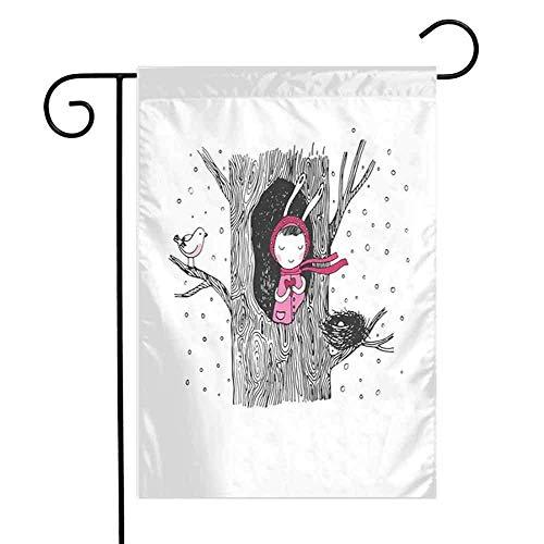 Drapeau de Jardin de pastèque d'arbre Double facePetit dans l'arbre Creux Tenant Un Oiseau Coeur et nid en Hiver Drapeau de Jardin Flamingo Snowfall12.5 'x 18' Noir Blanc et Rose
