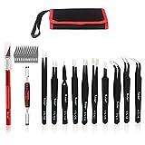 Precision Tweezers Set, Kaisi 12 PCS ESD Tweezer Set, Anti-Static Stainless Steel Tweezers Kit Curved Tweezers...