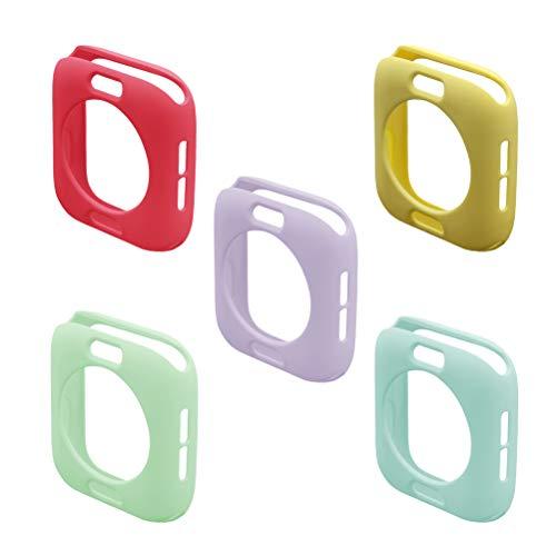 UKCOCO Custodia Apple Watch 4, 5 Pezzi Cover Ultra Sottile in Gomma Morbida per Silicone Case Protettiva paraurti TPU Shell per Apple iWatch Series 4 Size 44MM