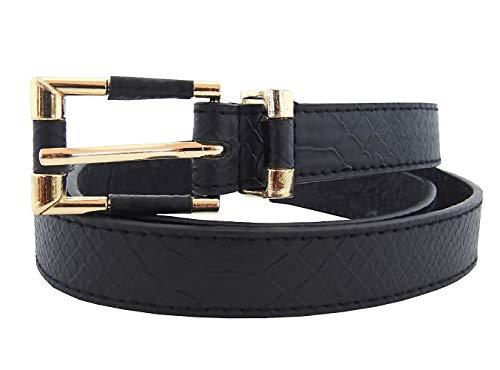 Damesriem - zwarte python - ecoleer - goudkleurige gesp - lt - 005