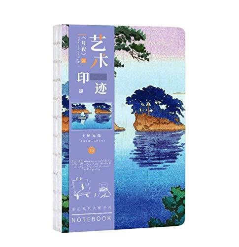 Regalo de Luke Cuaderno de Revistas del Estilo de Cultura Japonesa Mousrs de 7.2x5.2 pulgadas con Encuadernación Arcaica y Cubierta Pintada a Mano - La Noche Lunar