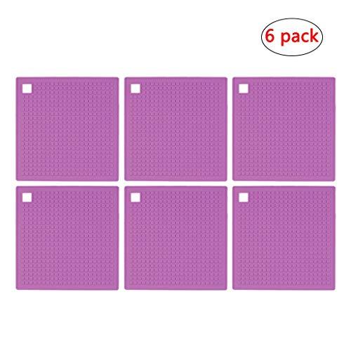 6 Stück Platten Silikon Trivets hitzebeständige Tischsets Moderne Küche Hot Pads for Töpfe hitzebeständige Non-Slip flexible haltbare (Color : Purple)