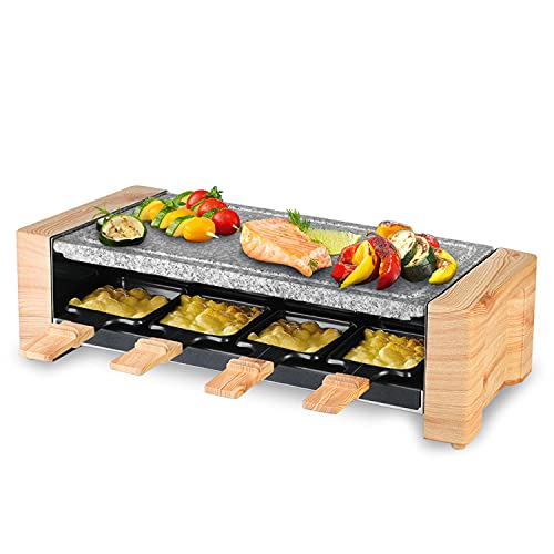 Artestia Electric Raclette Table Grill, Korean Bbq Grill, raclette grill stone1450W Removable 2-In-1 with Grill Stone Fast Heating 8 Cheese Melt Pans, Ideal for Parties and Family Fun