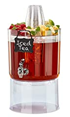 Serve cold beverages with style at any occasion with a Tritan, BPA free Beverage server. Features 1.75 gallon Beverage reservoir. party top, ice cone and hang tag. Utilize the unique top for fruit and/or sweeteners and cups for ease of serving Inner ...