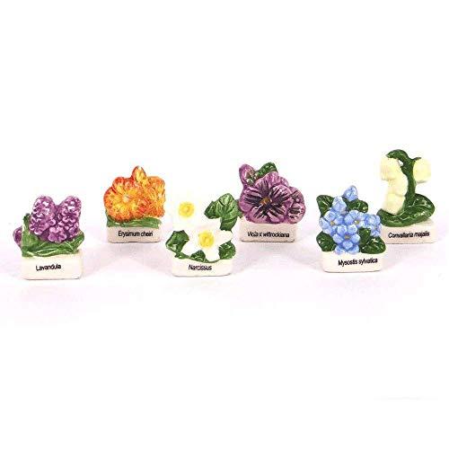Ens. de 6 Fèves Porcelaine - Fleurs de nos campagnes.