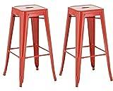 CLP Set 2 Sgabelli Bar Joshua in Metallo I Coppia Sgabelli Industriali Senza Schienale Impilabili Alt 77 CM, Colore:Rosso