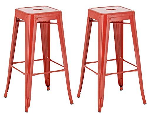 Lot de 2 Tabourets de Bar Joshua avec Repose-Pied I Set 2 Chaise de Bar Design Industriel Hauteur Assise 77 cm I Couleur :, Couleurs:Rouge