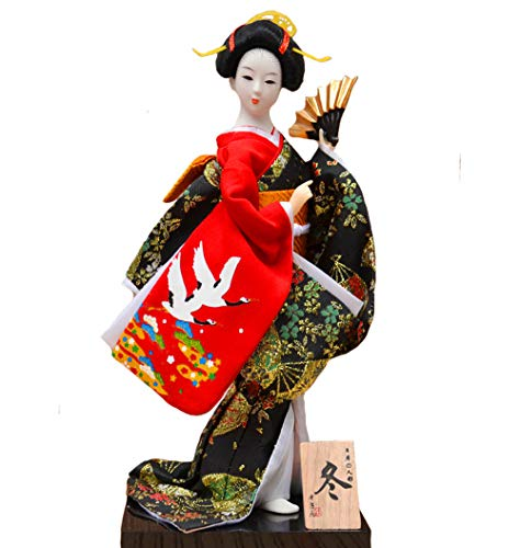 Key-Sun Black Japanese Geisha Kimono Doll - 12' (30cm), Asian Kimono Doll Collectible Figurine Decoration Gift