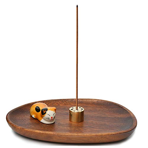 YKB Wooden Incense Stick Holder - Cute Ceramic Cat Incense Burner - Insences Holder