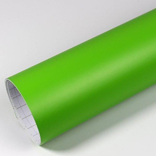 Rapid Teck® 5,26€/m² Premium – Matt Grün 50cm x 1,52m Auto Folie Blasenfrei mit Luftkanälen für Auto Folierung und 3D bekleben in Matt Glanz und Carbon Autofolie