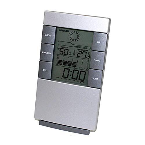 Digital Thermometer LCD Bildschirm Elektronisch Wecker Ewiger Kalender Zuhause Draussen Innen Wetter Prognose Luftfeuchtigkeitsmesser Thermometer