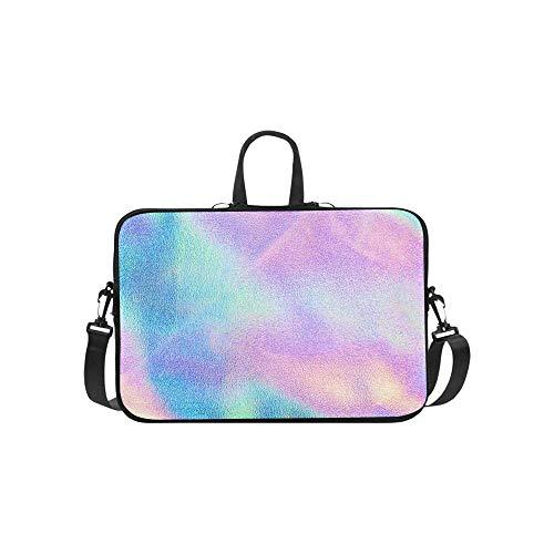15.6″Durable Hombro Mensajero Bolsa maletín PC Textura Real Holográfica Azul Rosa Verde Moda Impermeable Ordenador Portátil/portátil/Tablets