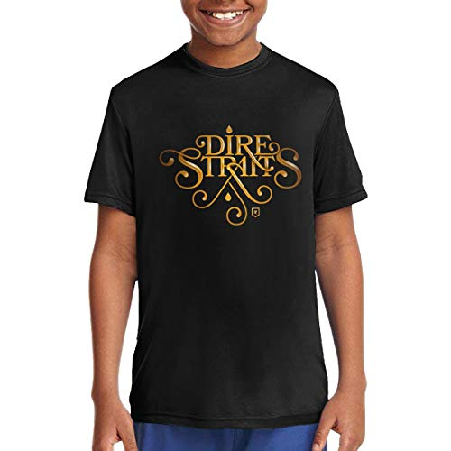 Dire Straits Logo Music/Rock/Singer Cotton Shirt Round Neck Short Sleeve T-Shirt for Teen Boys and Girls Classic Fit Black M