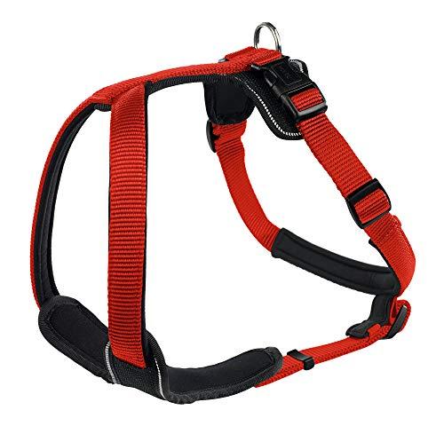 HUNTER NEOPREN Hundegeschirr, Nylon, gepolstert mit Neopren, für Sport und Freizeit, rot/schwarz, Nylon, Neopren, M (53-65)