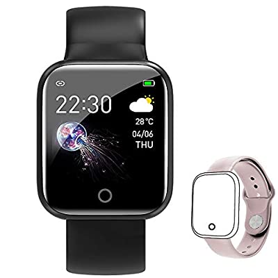 Smart Watch for Android Phones,FitnessTracker with Blood Oxygen Heart Rate Blood Pressure Monitor Activity Tracker Watch IP67 Waterproof Sleep Monitor Pedometer for Women Men Kids (Black+Pink)