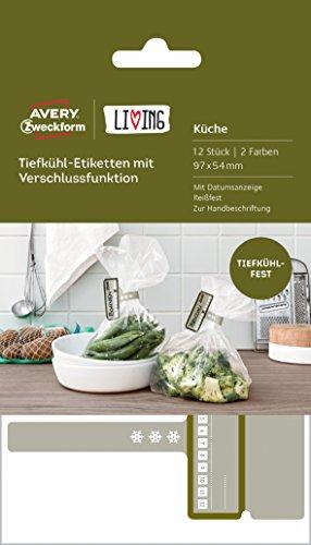 AVERY Zweckform 62006 Living Tiefkühl-Etiketten mit Verschlussfunktion (97 x 54 mm, 2 Farben) 12 Stück weiß