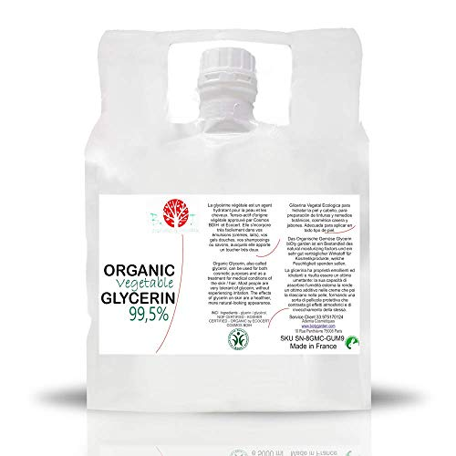 Glycérine Végétale Organique pure 99.5 % glycérol 100% végétale, Base Liquide Bio Glycerine Pharmaceutique Alimentaire garantie sans OGM e liquide, savon, garantie sans OGM 5 kg