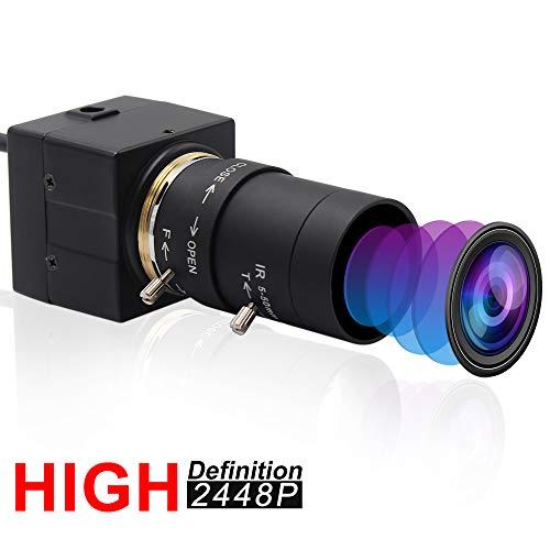 ELP Webcam 8MPWebKamera HD 5 50mm Manuell Variable Fokus ObjektivIMX179 Sensor USB Kamera PC DesktopLaptop HD 2448P Zoom Kamera kompatibel mit MacWindowsLinuxAndroid USB8MP02G SFV5 50