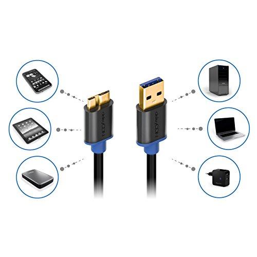 deleyCON 2m Micro USB 3.0 Datenkabel bis zu 5Gbit/s Ladekabel für Handy Smartphone Tablet Externe Festplatten - USB A-Stecker zu Micro B-Stecker