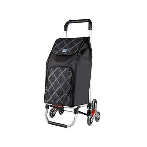 Zjnhl JIAN Trolley Black Tri-wiel Folding winkelwagen, Trolley Dolly Stair Climbing wagen Grocery wasmachine multifunctionele wagen met wiellager voor de GO trappop en trappab