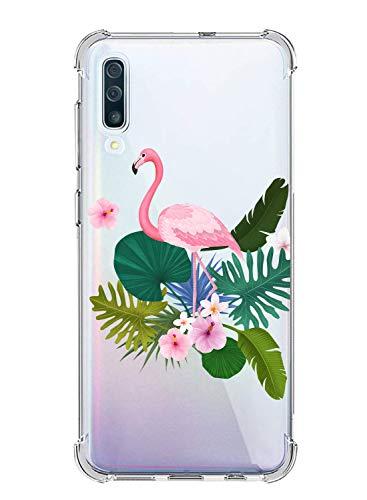 Suhctup Coque Compatible avec Galaxy J6 Plus/J6 Prime,Étui Houssee de Transparent Motif Mignon [Antichoc Coussin d'air] Crystal Clear Souple Silicone TPU Bumper Protection de Cover Case,Flamingo